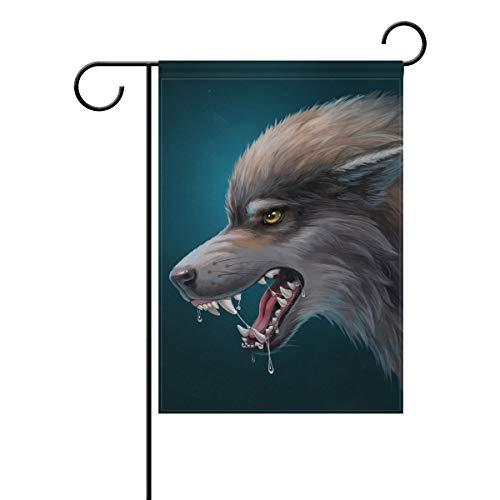 DEZIRO Danger Wolf Kunst Malerei Hofflagge Custom Garten Flagge doppelseitig, Polyester, 1, 12x18(in)