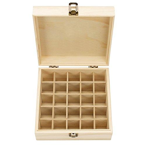 aufbewahrungsboxen, Hölzern 25 Löcher Aromatherapie Aufbewahrungsbox Ätherisches Öl Tasche Nagellack Kulturbeutel Kosmetikkoffer