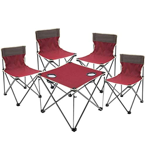 Esstisch Partytisch -GR Tragbarer Klapptisch, Außentisch und Stuhl fünf-teilig, Strandkorb-Set geeignet für Indoor Camping Dinner Fishing, Multi Farbe optional Gartentisch Buffettisch (Farbe : Rot) - Dinner-stühle Red