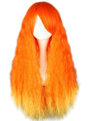 etruke Lolita Orange Long bouclés femmes fille Halloween Cosplay Perruques