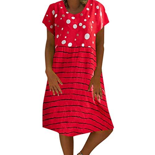 Junjie Frauen Baumwolle Leinen Rundhals Kurzarm Loose Dot Gestreift Print figurformend Retro Pushup bügel Schwangerschaft Kleid Schwarz, Rot, Gelb -