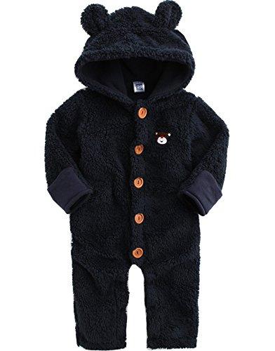 Vaenait Baby 6-12M Saeugling Jungen Fleece Hoodie Schneeanzug Romper Bear One-Piece Navy S (Bear Fleece Hoodie)