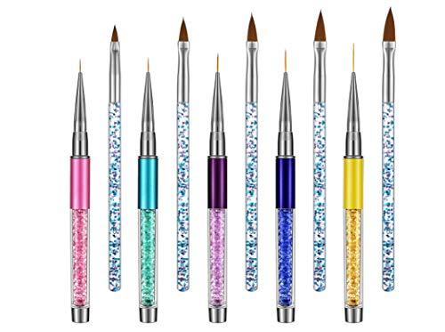 Joeleli 15 STÜCKE 3D Nail art Pens Kit Acryl Nagelbürsten Art Liner Pinsel Nagel Malerei Design Stift Pinsel Strass Griffe Nagelstifte