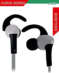 Jkobi Sports Series C Shape Fitness Wired Earphone Headset Compatible For LG G Stylo -Silver With Black