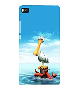 printtech Crane Octopus Seawater Back Case Cover for Huawei Honor P8