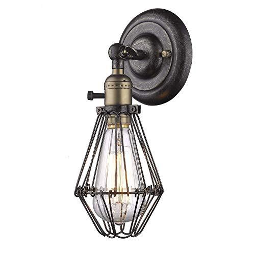 YOBO Wandleuchte Anlage Eisen Vintage auf aus Käfig Stil für Edison E27 Nostalgie Glühlampe (Anlage-wandleuchte)