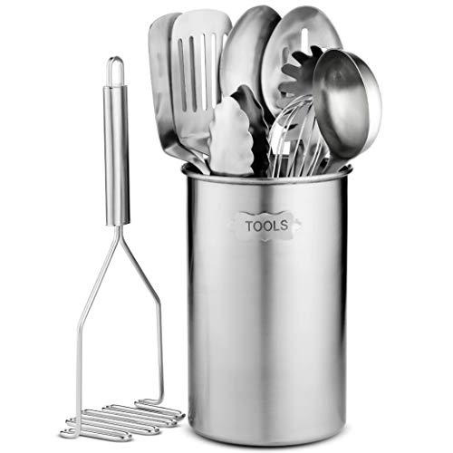 Set de utensilios de cocina de acero inoxidable - 10 utensilios modernos, antiadherentes resistentes...
