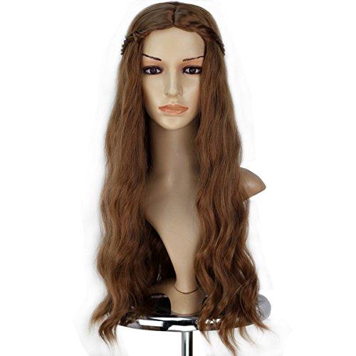 Miss U Hair Mädchen weiblich Synthetik prestyled lang gewellt Braun Perücke mit Braid Cosplay Perücke
