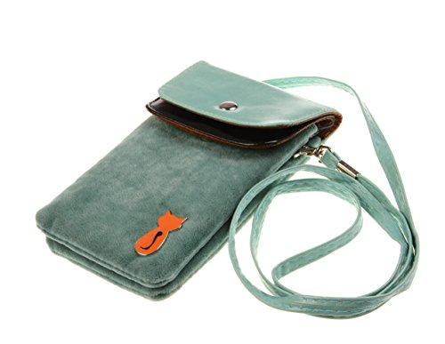 Bronze Times Universale Handytasche Geldbeutel Sportstasche mit Katze Fußabdruck und Handschlaufe Blau (Print Tote Snake)