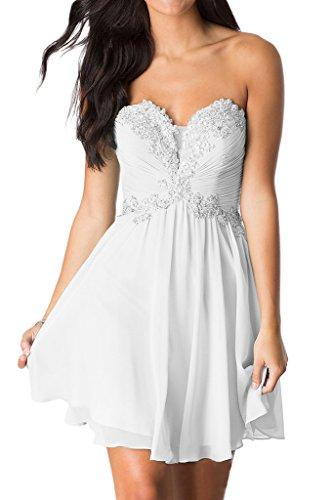 Missdressy Damen Kurz Falte Partykleid Abendkleid Spitze Traegerlos Chiffon Weiß