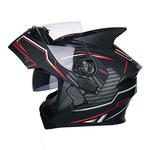 KeRuiLou Casco Moto Modular Casco Moto Casco Flip Up con Visiera Parasole Interna Doppia Lente Style 4 XL