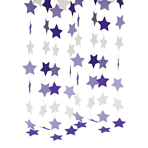 Purple Lavender White Star Guirnaldas de 2 piezas para decoraciones de cumpleaños/decoraciones...