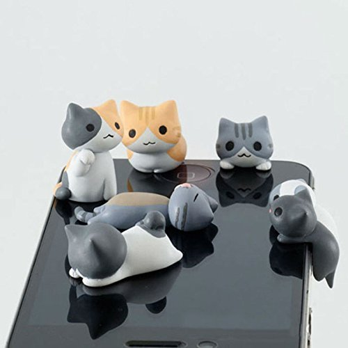 EQLEF® 6pcs Cute Cat dell'universale 3.5mm anti trasduttore auricolare della polvere spina di Jack del Tappo per iPhone 4 / 4S / 5, iPod, iPad, HTC, Samsung
