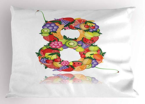 HFYZT Number Pillow Sham, Fruitful Eight with Avocado Lemon Watermelon Grapes Flower Cherry Orange Colorful, Decorative Standard King Size Printed Kissenbezug Pillowcase, 18 X 18 Inches, Multicolor -