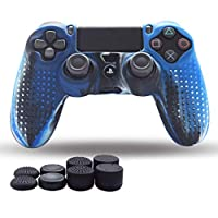 Keyobesa Silicone Cover Skin Case, Comfortable Feeling with 4 Pairs of Rocker Caps for Sony PS4 Controller for Home Indoor Entertainment - Black Blue