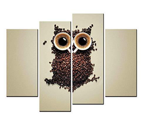 ZUMOOY 4 Stücke Gerahmte Wandkunst Bild Geschenk Dekoration Leinwanddruck Malerei Schöne Kaffeebohnen Nette Eule @ 40x80 40x100 cm kein Rahmen