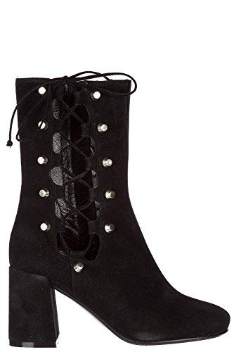 MCQ Alexander McQueen Damen Wildleder Stiefeletten Stiefel Ankle Boots mit Absatz Schwarz EU 36 468132R24691000 (Mcqueen Alexander Stiefel)