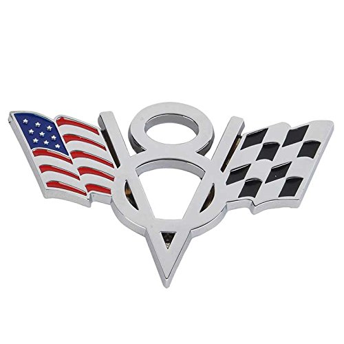 Preisvergleich Produktbild Metall Emblem Aufkleber V8 mit Fahnen