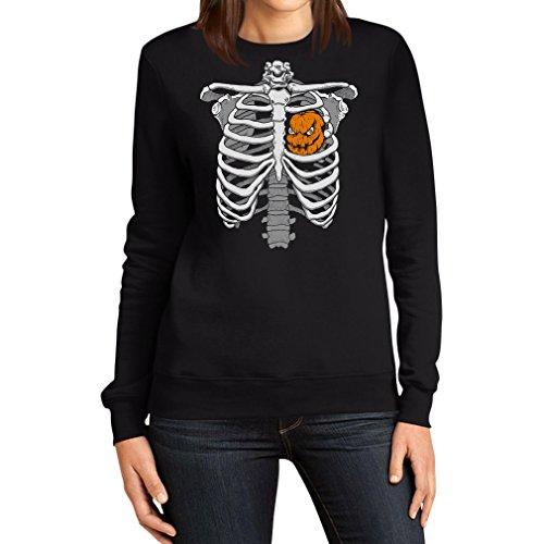Halloween Skelett Brustkorb Mit Kürbis Frauen Sweatshirt Small Schwarz (Hearts Jack Halloween-kostüm Of)