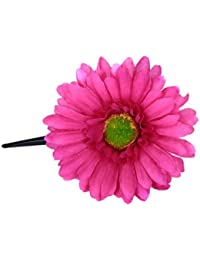 Imported Women Girls African Daisy Flower Hair Clip W/ Long Alligator Clip - Shocking Pink