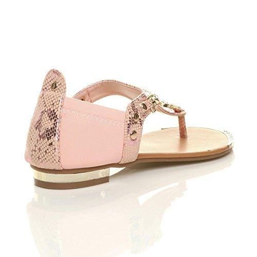 Damen Flach Elastisch Diamant Schlange Zehentrenner T-Riemen Sandalen Größe Rosa