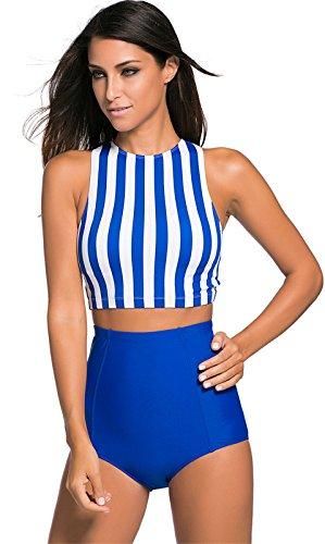 2 PCs Stück Striped Kurze Crop Tankini Bikinioberteil Bikini Oberteil Top Mit Hohe Taille Badehose Swimwear Swimsuit Bademode Set Blau Weiß Gestreift Gestreiftes S (2 Stück Bikini-höschen)