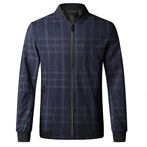 Loeay Herren Jacke Baseballanzug Mode Casual Jacke Mandarin Kragen Reißverschluss Herren Mäntel Plaid Outerwear Jacken für Herren Overcoat Gr. XX-Large, Marineblau