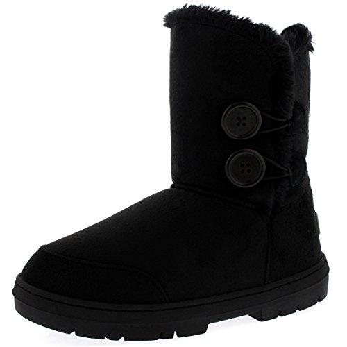 Botas de invierno con doble botón, impermeables, para mujer, color Negro, talla 42 2/3