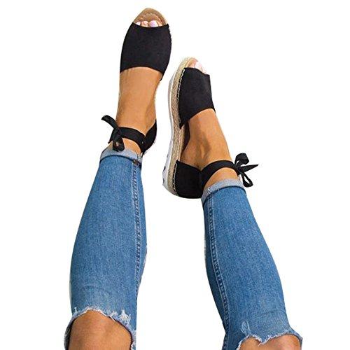 Meedot Offene Sandalen Damen Flach Schuhe Plateau Sommerschuhe Lace Up Strandschuhe Schwarz 43
