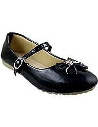 Leatherwood1 Girls Black Slip on Ballerinas