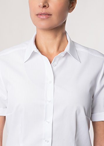 eterna Kurzarm Bluse MODERN CLASSIC unifarben Weiß