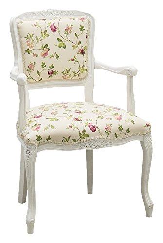 Pieffe Mobili Parigina poltroncina Shabby, legno faggio bianco, stoffa fiori!