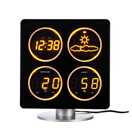 Xinxinchaoshi Temperatura y Humedad Decoración del hogar Reloj Pronóstico del Tiempo Estación meteorológica...