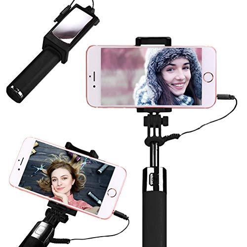 Obvie Mini Selfie Stick, Telefono Cellulare e Selfie Stick allungabile Mini all in One Wire Selfie Stick per Il Cellulare (iPhone, Android) (Nero)