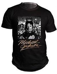 MICHAEL JACKSON-B/W ALBUM OFFICIEL OR SIGNATURE-T - SHIRT POUR HOMME
