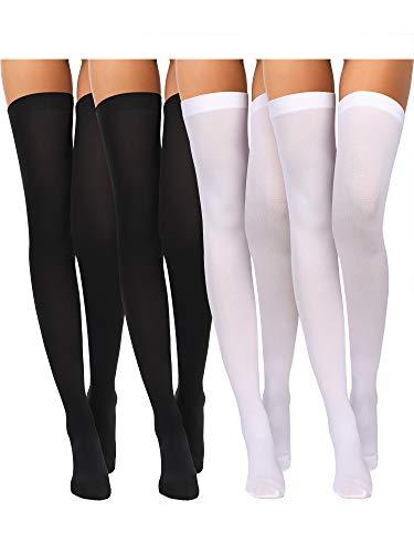 Boao 4 Paare Damen Seiden Kniestrümpfe Hohe Strümpfe Nylon Kniestrümpfe für Damen Halloween Cosplay Kostüm Party Zubehör (Farbe Set 3)