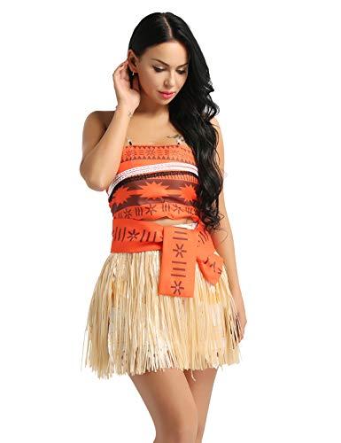 00bb57b14 iixpin Disfraz de Princesa Adventura del Mar para Mujer Chica Traje de 4Pcs  Top Falda Corto