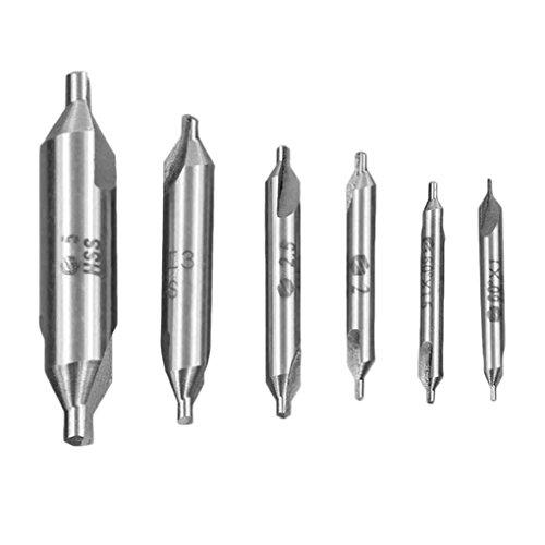 Minzhi 6pcs HSS High Speed ??Steel Combined Zentrierbohrer Gewindespirale Schraube Composite-Tap Bohrer Tap Set