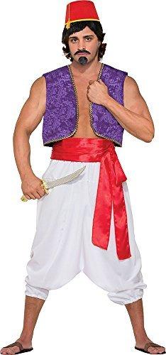 (Herren Aladdin Wüste Prinz Kostüm Party Outfit Genie Weste Kostüm lila)