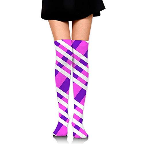 Ljkhas232 Thigh High Socks Purple Plaid Knee High Long Socks Boot High Socks for Women -