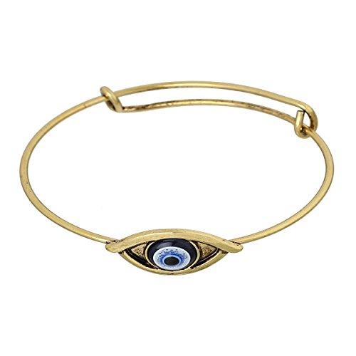 Erweiterbar Charm Armreif Armband, Double Bar, Eye Gold Ton Blau Kunstharz