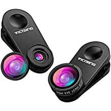 3in1 Clip-on Handy Objektiv,Aktualisierte Version,VicTsing Handy Linsen Set, 10X Macro Linse&0.65X Weitwinkelobjektiv&180°Fisheye-Objektiv für iPhone,Samsung,Honor,die meisten Einzelkamera Smartphone