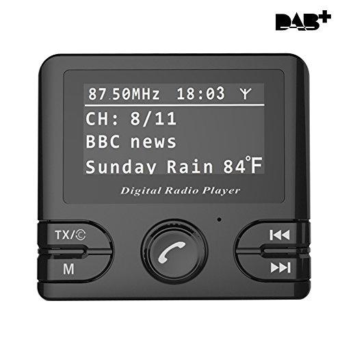 Hi-azul 5 in 1 In-Car DAB/DAB+ Radio Adapter, DAB-Radio + FM Transmitter + Bluetooth-Freisprechanruf/ Musik + Micro SD/ TF Karten Abspielen + DC 5V 2.1A/1.0A Dual USB Auto Ladegerät mit 2,4