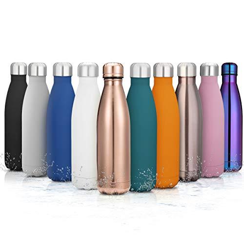 king do way Doppelwandige Edelstahl Trinkflasche Thermosflasche Sportflasche, Trinkflaschen Wasserflasche Reisebecher 500 ml frei BPA für Trinkflasche Kinder, Camping, Wandern, Reisen (Blauer See)