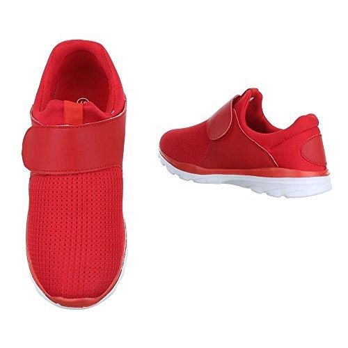 Damen Schuhe Freizeitschuhe Sportschuhe Mit Klett Schwarz Rot