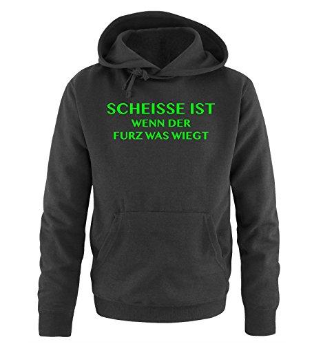 Comedy Shirts Scheisse ist - Wenn der Furz was wiegt - Herren Hoodie - Schwarz/Neongrün Gr. 4XL - Fürze Riechen