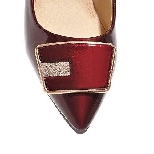 AgooLar Femme Pu Cuir à Talon Correct Pointu Mosaïque Tire Chaussures Légeres Rouge Vineux