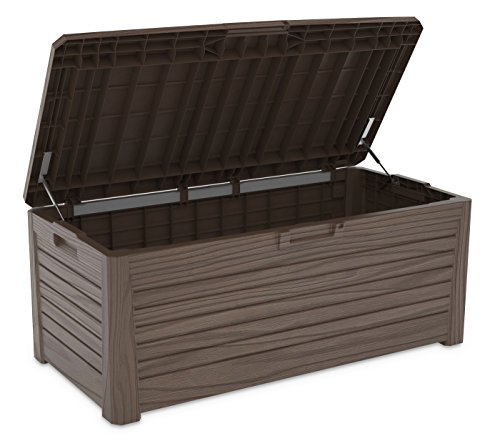 XL Toomax Kissenbox #Z155 Florida braun 550 Liter Inhalt Holz Optik - mit Sitzfläche 350 kg Tragkraft - absolut wasserdicht - abschließbar