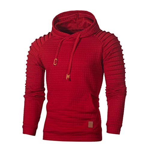 Herren Herbst Sweatshirt Mit Langarm Pullover Kapuzen Männer Kariert Unikat Style Hoodie Outwear Hemd Sport T Shirts Top Tee (Color : Rot, Size : 2XL)
