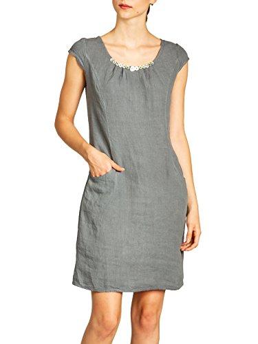 nges Damen Sommer Leinenkleid mit Perlmutt Knöpfe Dekor bis Größe 50, Farbe:grau, Größe:L - DE40 UK12 IT44 ES42 US10 ()